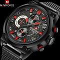 Luxo dos homens do esporte de quartzo relógios naviforce malha banda alloy caso preto 30 m à prova d' água moda analógicos relógios de pulso reloj hombre