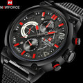 NAVIFORCE men's luxury sport quartz watches mesh band alloy black case 30M waterproof fashion analog wristwatches reloj hombre