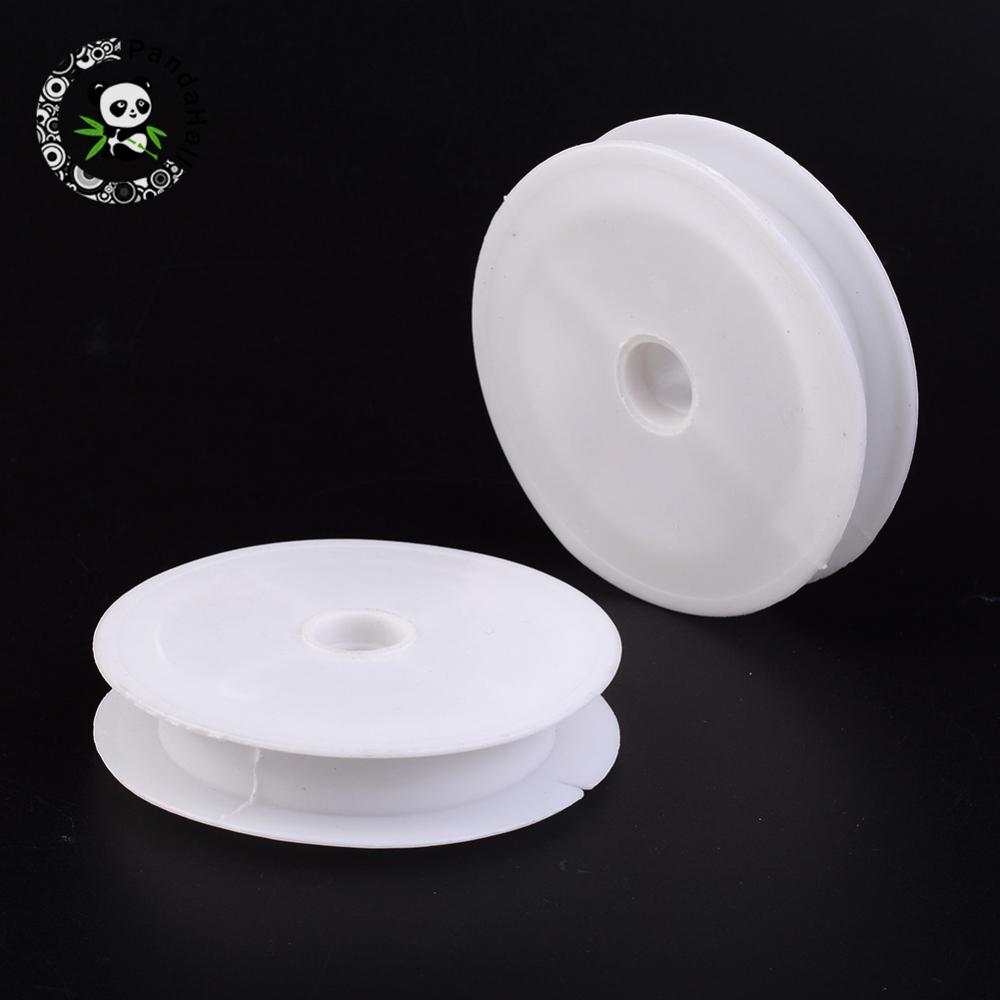 Plastic Empty Spools For Wire, Thread Bobbins, White, 83x16mm