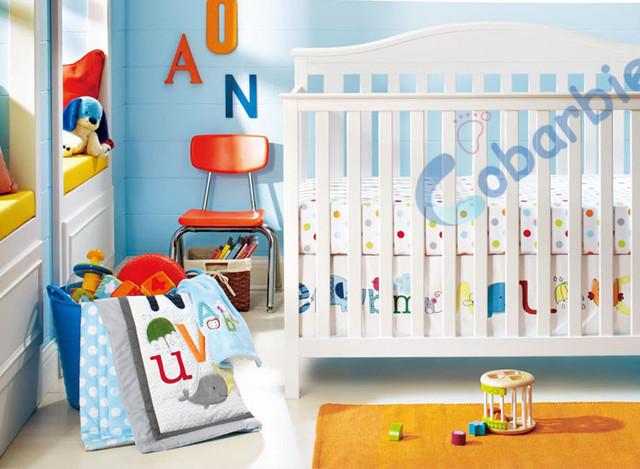 8 unidades de algodón cuna bedding set, carta de calidad newborn baby girl boy bedding, dormitorio nursery cuna bedding