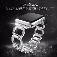 Stainless Steel Strap For Apple Watch Band Rhinestone Diamond 38mm 42mm Smart Watch Metal Band For