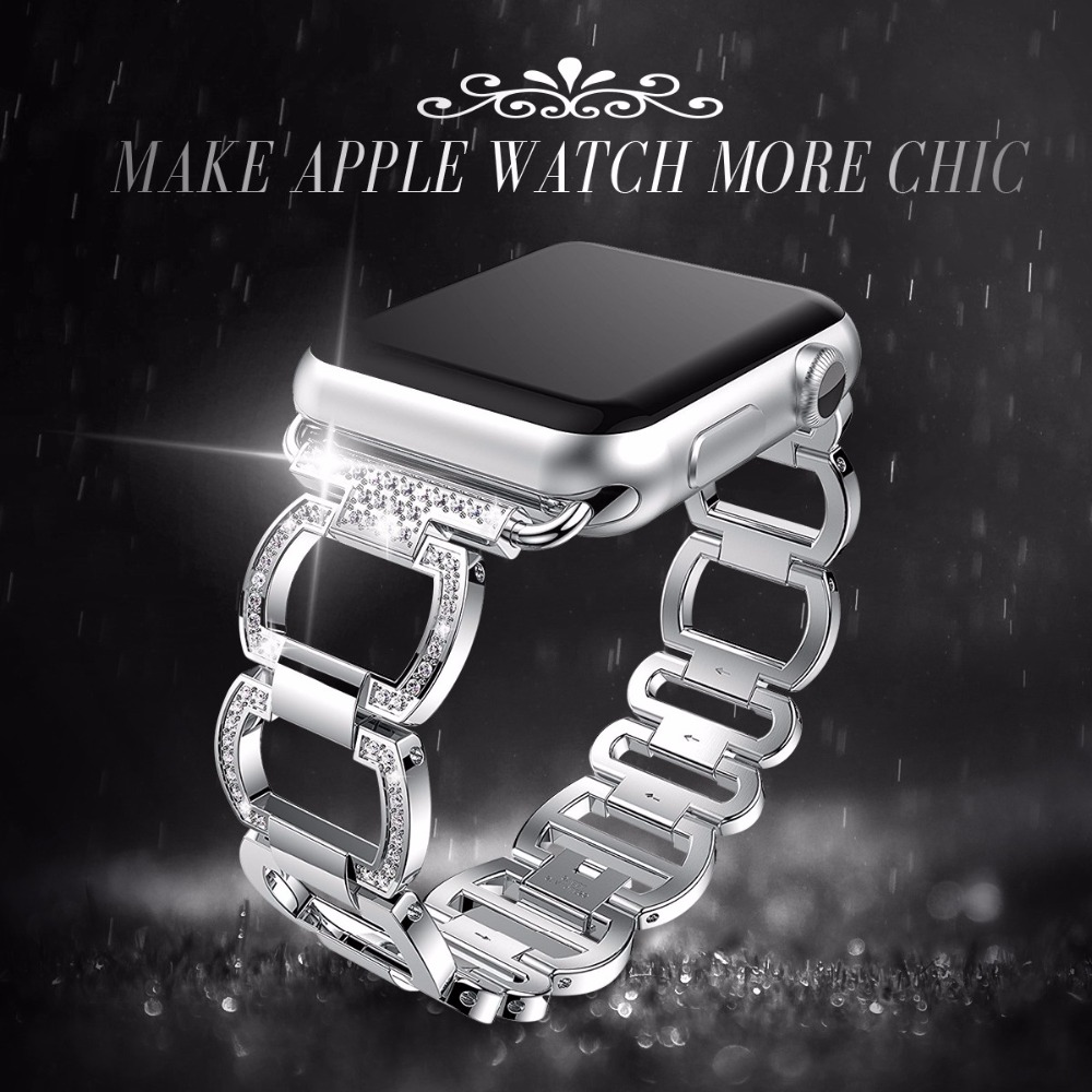 Stainless Steel Strap For Apple Watch Band Rhinestone Diamond 38mm/42mm Smart Watch Metal Band for iWatch Series 3 2 1
