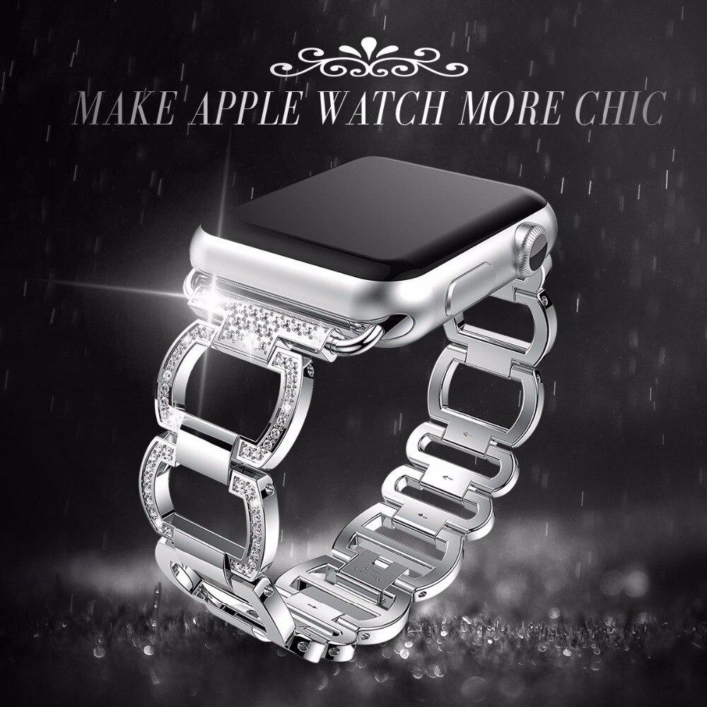 Cinturino In Acciaio Per Apple Cinturino Del Diamante Del Rhinestone 38mm/42mm Intelligente Orologio Metal Band per iWatch serie 3 2 1