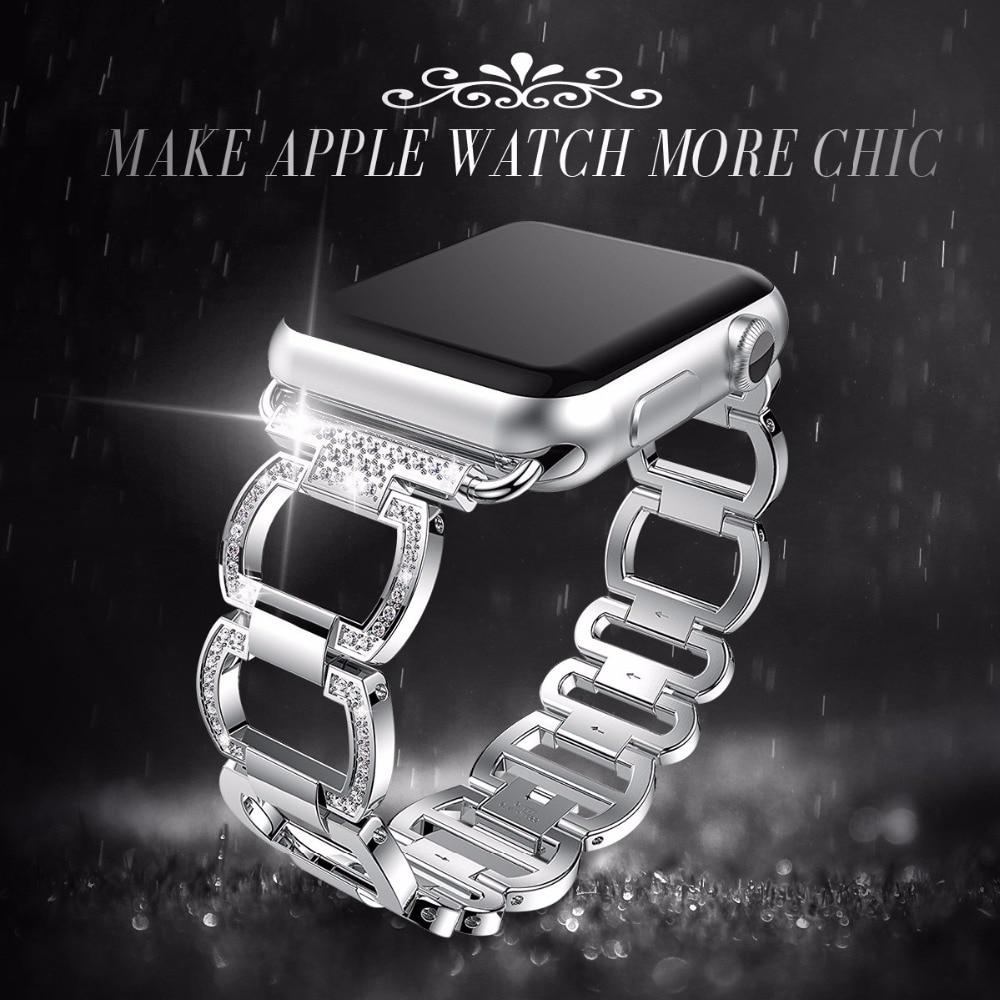 Cinturino in Acciaio Inox per Apple Watch Band Del Diamante Del Rhinestone di 38mm 42mm Astuto Della Vigilanza della Fascia di Metallo per Apple Orologio serie 4 3 2 1