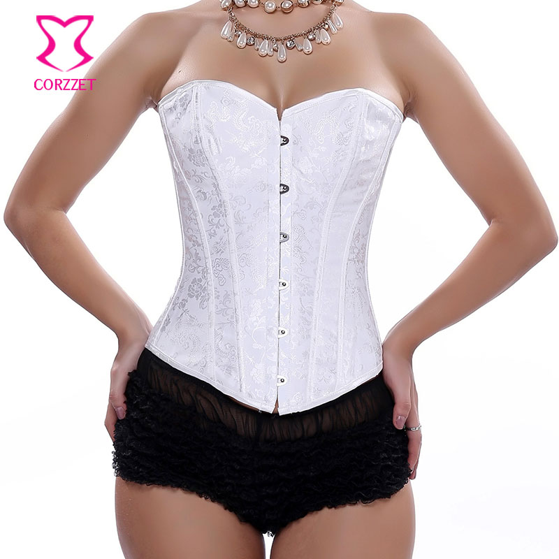 Floral Brocade Overbust   Corset   White   Bustier   Top Corpetes E Espartilhos Gothic Sexy Lingerie Bridal   Corsets   and   Bustiers
