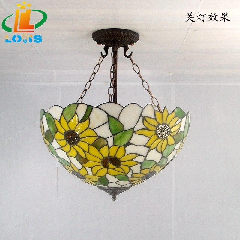 40 см Подсолнух желтое стекло Тиффани анти спальня с люстрами, гостиной лампы США французский бар вход освещение - 4