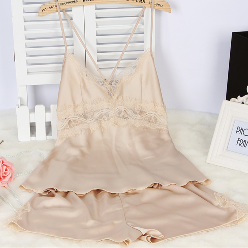 Womens Pajamas Lace Women Pajamas Set Clothing for Women Homewear Indoor Clothing Lady Satin Silk pajamas for women's Sleepwear