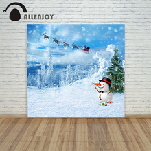 Christmas backdrop background cloth Snowman sled tree winter xmas camera prop funny merry pictures