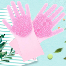 1 pair Magic Silicone Rubber Dish Washing Gloves Eco-Friendly Scrubber Cleaning For Multipurpose Kitchen Bed Bathroom