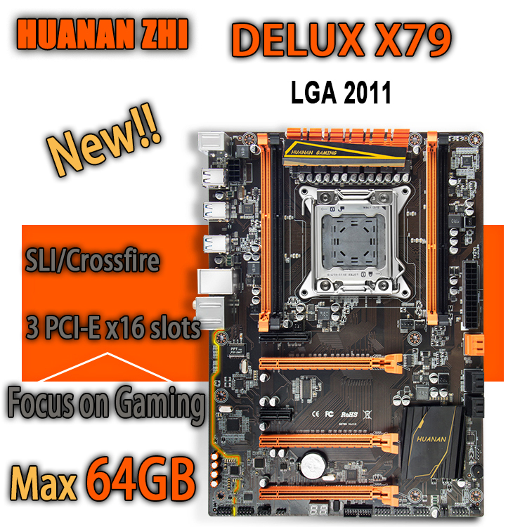 HUANAN ZHI Deluxe X79 gaming motherboard intel LGA 2011 ATX support 4 x 16GB 64GB memory PCI-E x16 7.1 sound track crossfire