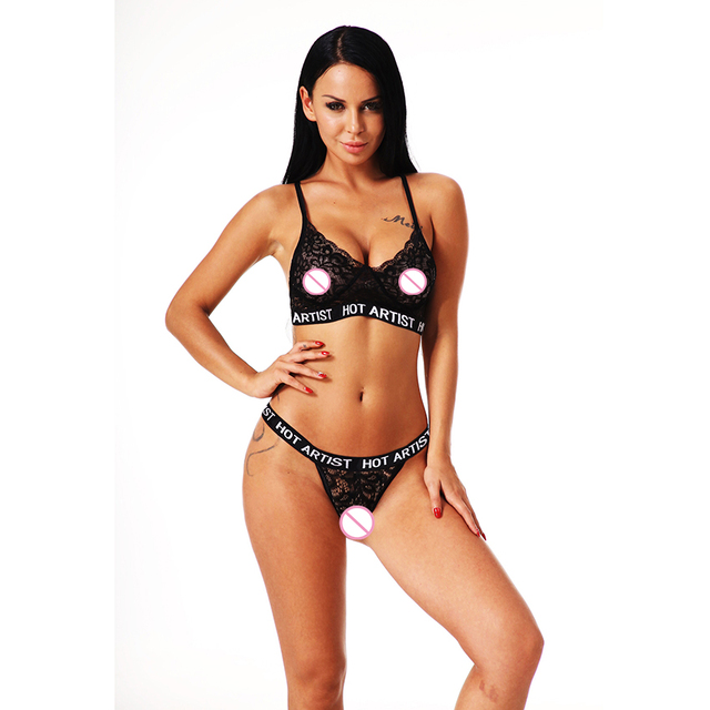 5e0b87d4dd LANSHIFEI Sexy Girl Bra Panty Set Lace Transparent Bra Thongs 2018 Fashion  Teens Lingerie Underwear Letter Print Net Bra Panties
