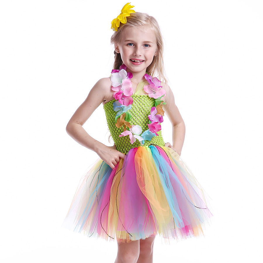 Girls Hawaiian Grass Hula Tutu Dress with Flower Garland Necklace Kids (8)