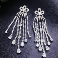 2016 Newest Fashion Design Full Shining CZ Tassels Drop Earrings For Women Silver Gold Color With