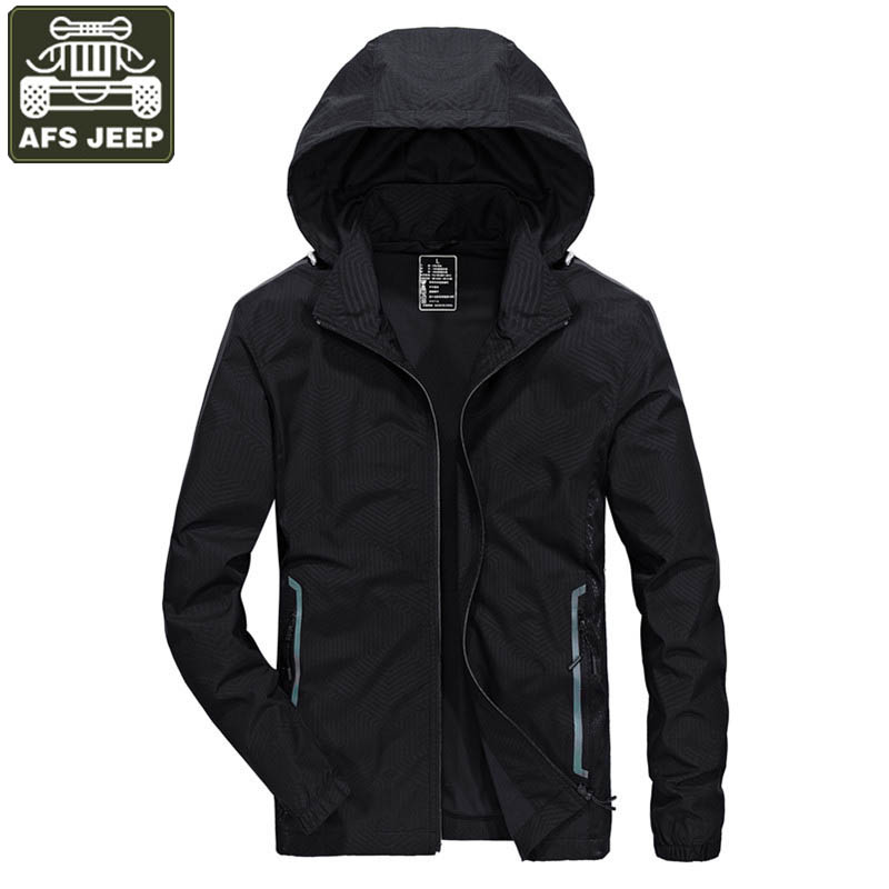 AFS JEEP Jacket Men Casual Hooded Collar Removable Windbreaker Coat Men Polyester Breathable Men Jacket Fashion Outwear L-4XL