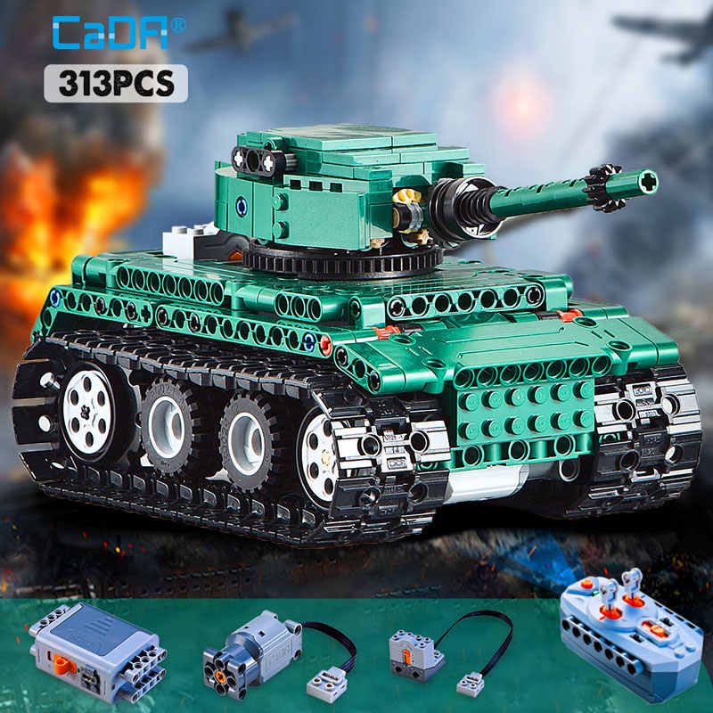 cada 313PCS RC Military Tiger 1 Tanks Building Blocks compatible legoing Technic series WW2 World German Army bricks toy for kid