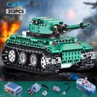 cada 313PCS RC Military Tiger 1 Tanks Building Blocks compatible legoing Technic series WW2 World German Army bricks toy for kid
