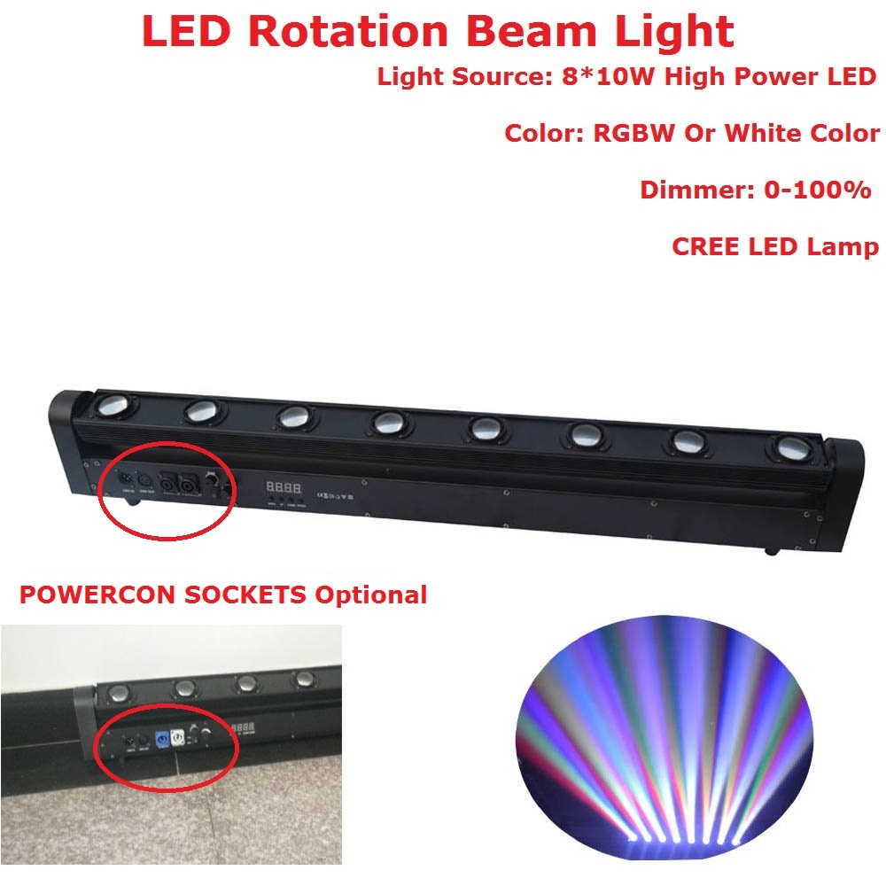 Free Shipping LED Bar Beam Moving Head Lights High Quality 8X10W RGBW Quad Color Rotation Beam Lights DMX 5/14 Channels