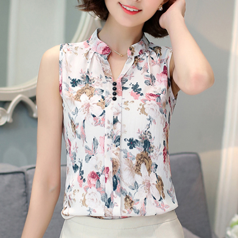 e864d0815bd Chiffon Blouse Shirts For Women Summer Sleeveless Print Femme Blouses Work  Wear Fashion Slim Tops Shirt Blusas Female Ladies-in Blouses   Shirts from  ...