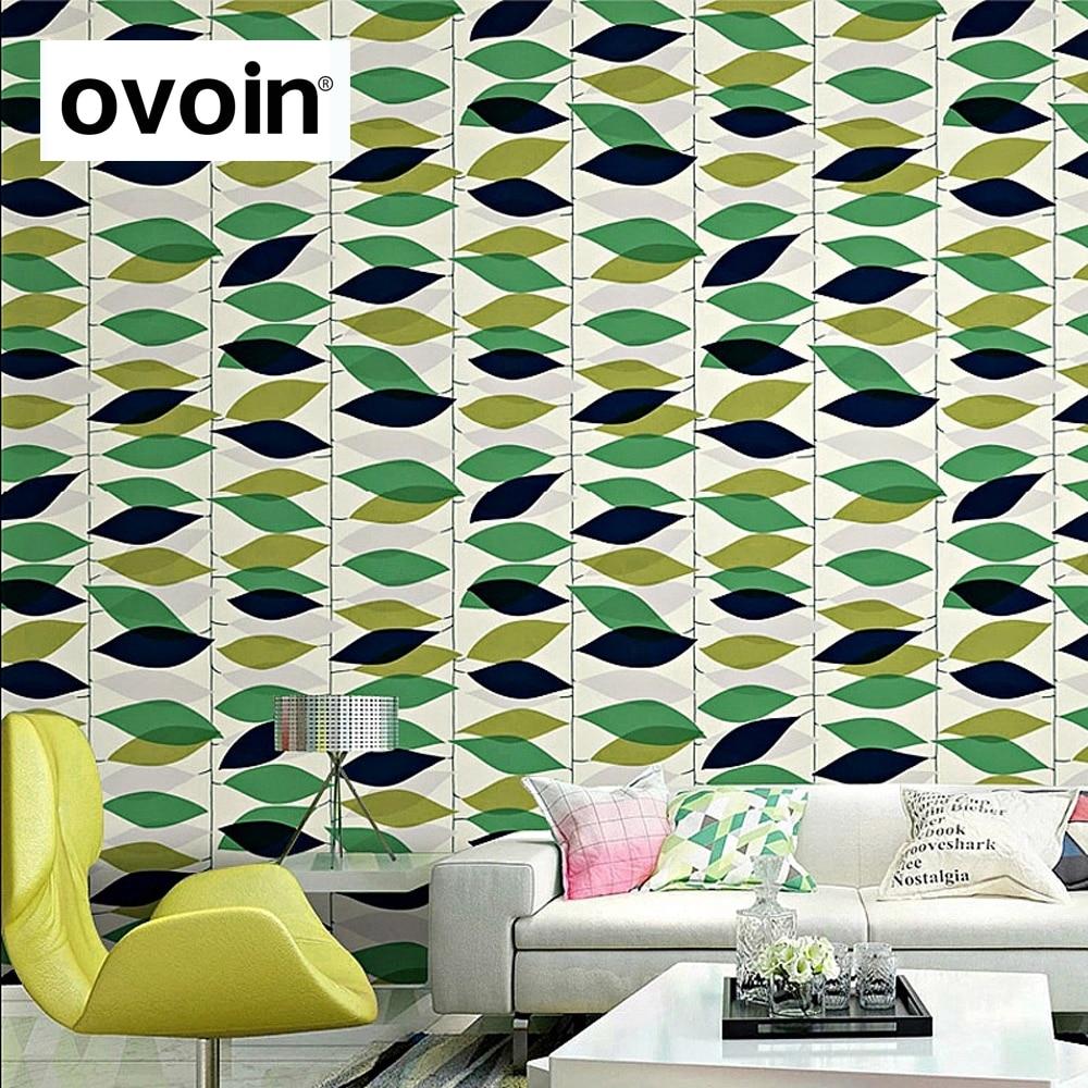 Glitter Folhas Verdes Design Moderno Sala De Estar Quarto Papel De  -> Papel De Parede Para Sala Folhas
