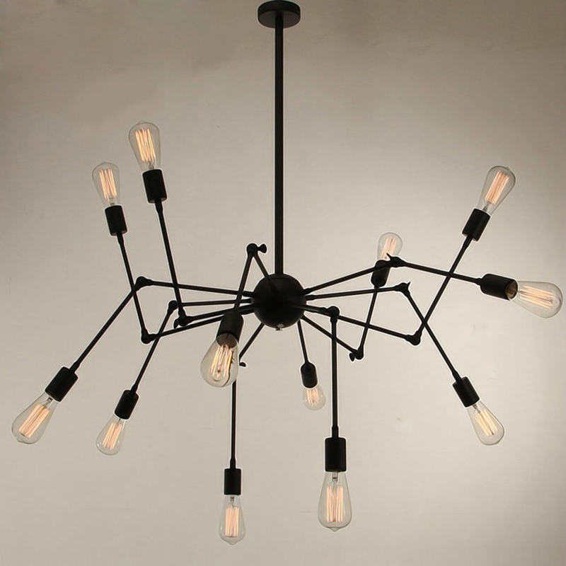 12 head Modern Art Deco black/white/red spider pendant lights lamp iron minimalist loft led bedroom kitchen bar cafe Parlor