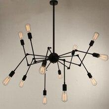 12 cabeza Modern Art Deco negro/blanco/rojo araña luces pendientes lámpara loft hierro minimalista led dormitorio cocina bar Salón cafetería