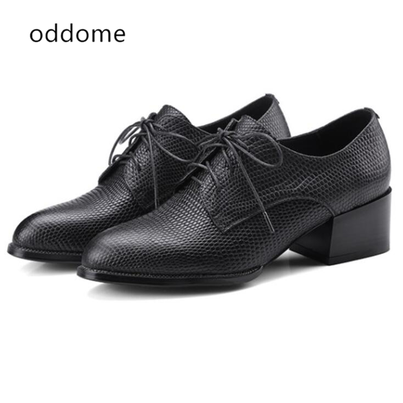2018 new Lace up Oxford Shoes for Women Handmade Leather Shoes Woman British Causal Shoes Women Platform Creepers