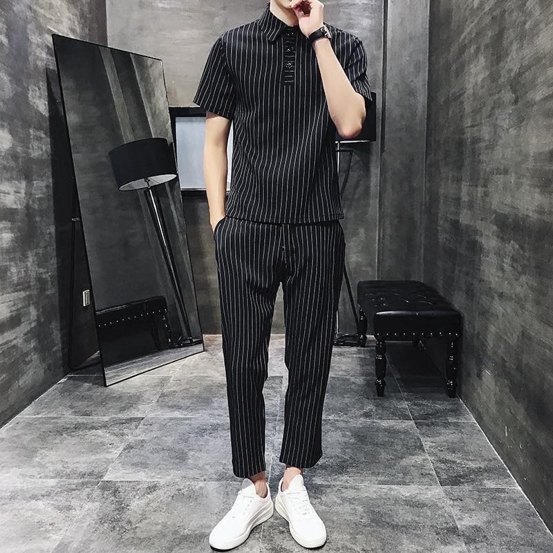Vintage Tracksuits Men 2PC Outwear Sportsuit Sets Male Striped Set Polo Shirt+Pants In Men's Sets Plus Size 5XL