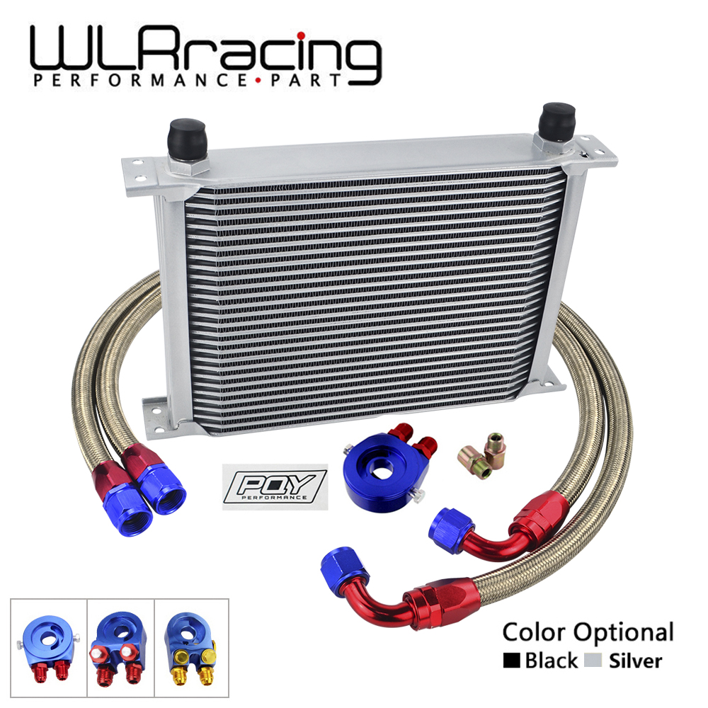 WLR- AN10 OIL COOLER KIT 28 ROWS OIL COOLER + OIL FILTER ADAPTER + NYLON STAINLESS STEEL BRAIDED HOSE WITH PQY STICKER+BOX epman universal 10 row oil cooler kit with oil filter relocation kit for turbo race ep ok1012
