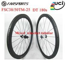 Top carbon bike wheelset with DT 180s carbon ceramic hubs 20H 24H 38mm 50mm mixed font