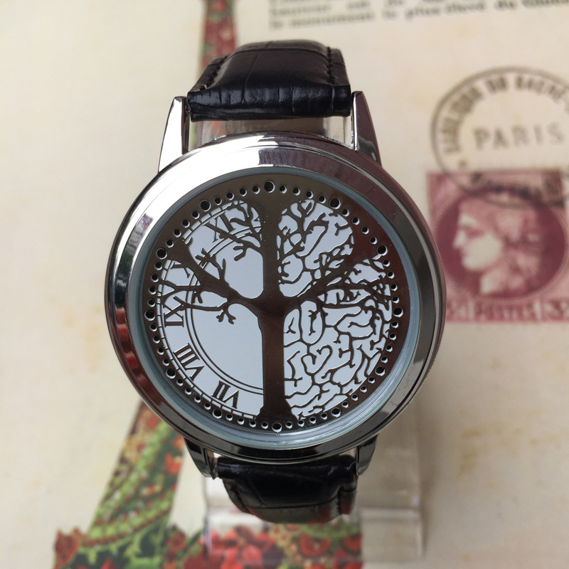 Cool LED Tree Touch Screen Steel Shell watches BGG Genuine Leather Strap Digital Watch lovers Wrist