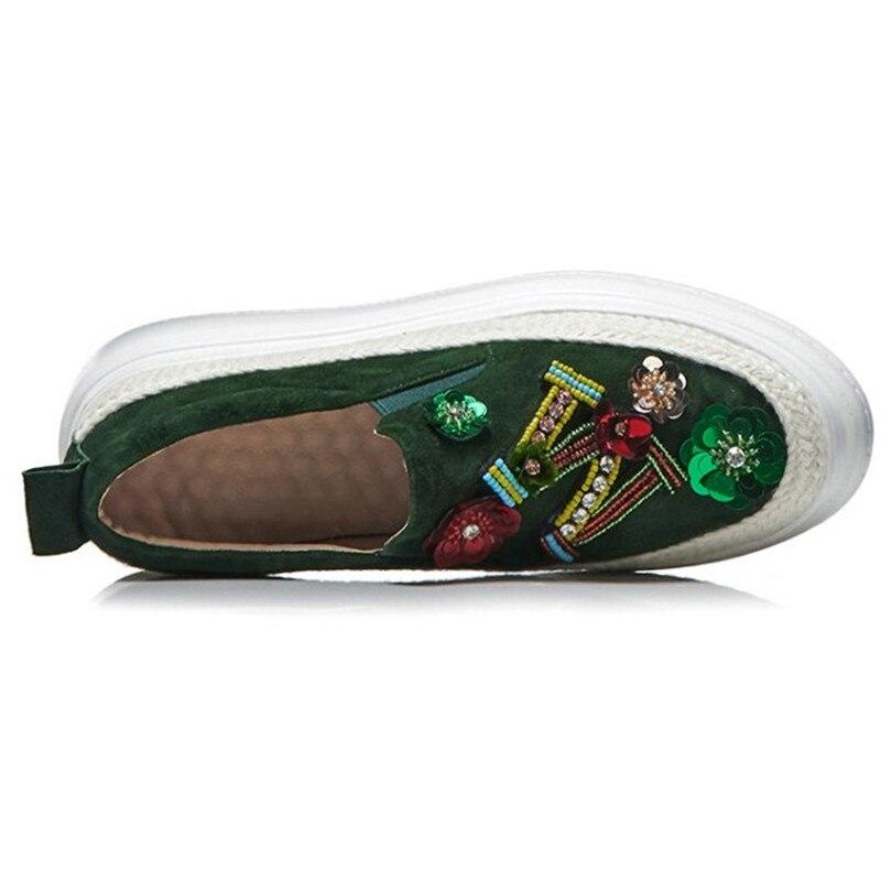 Genuini Casual Di Cuoio Brand New Alta Black Basse Piattaforma Donna On green Donne Strass Quanlity Scarpe Slip Pattini 08Owz0xH