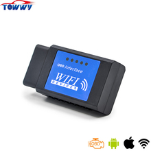 2017 Top Quality ELM327 OBD2 Interface Car Scan Tool Black WiFi Devices OBDII Works On Android&IOS&PC