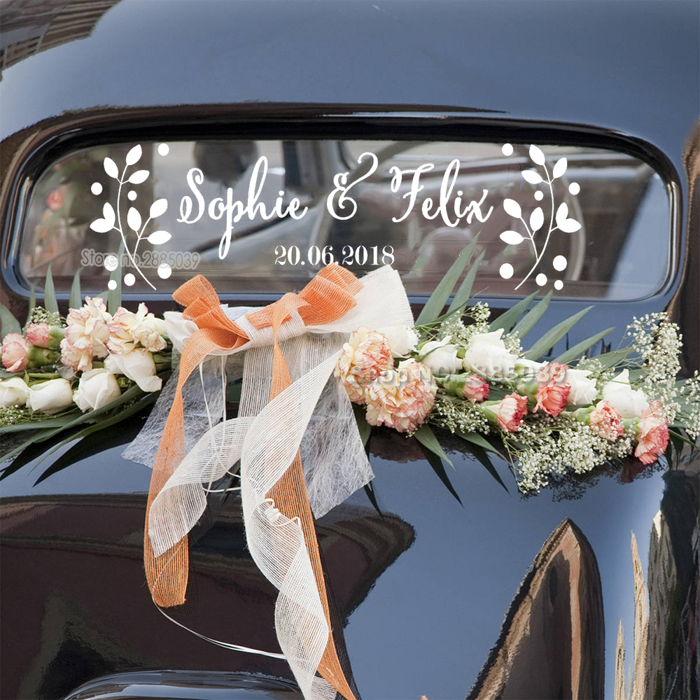 Custom Floral Stickers-30+ Creative Ideas to Decorate Your Wedding Car