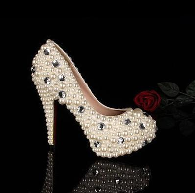 ФОТО 2016  New style fashion  Round Toe  White Pearl diamond Wedding Dress Shoes   Princess party shoes    size 8 heels size 34-43