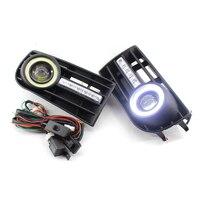 1 par niebla Lámparas rejillas H3 para VW Golf 5 mk5 conejo 2005-2009 y kit de cableado del coche estilo blanco luz