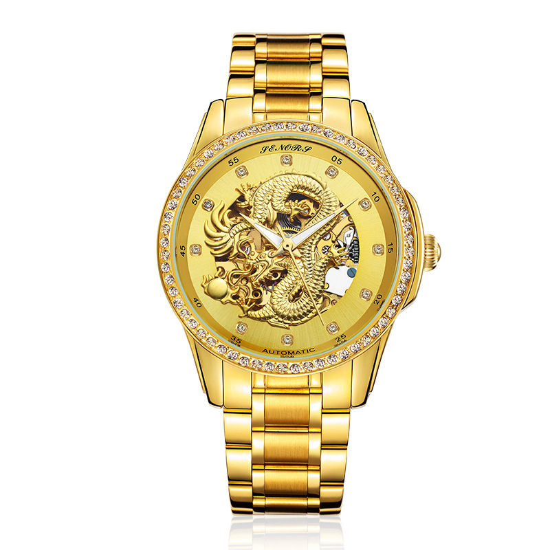 luxury gold mens watches Mechanical automatic man wristwatches 316L stainless steel 18k Gold plated diamond 3D carved SENORS