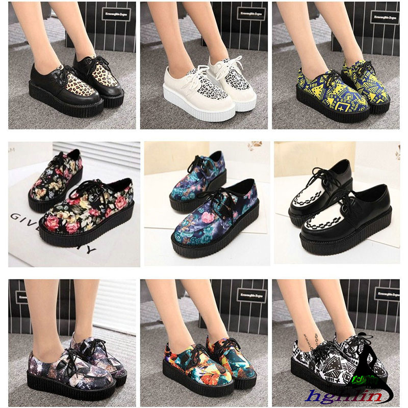 Creepers shoes 35-41 shoes woman plus size ladies platform shoes 2018 fashion women flats shoes tenis feminino lankarin brand 2017 summer woman pointed toe flats ladies platform fashion rivet buckle strap flat shoes woman plus size