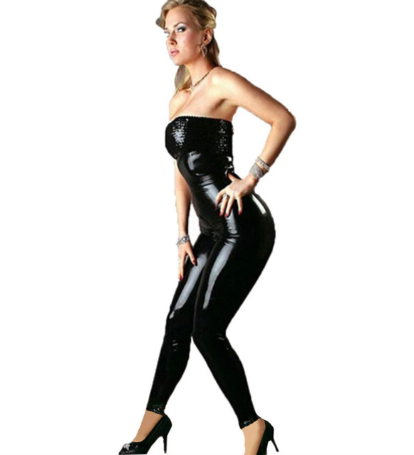 708fea6857 Stunning Sequined Strapless Black Women Jumpsuit Skinny Faux Leather Sexy  Bodysuit Clubwear Nightclub Party Clothes