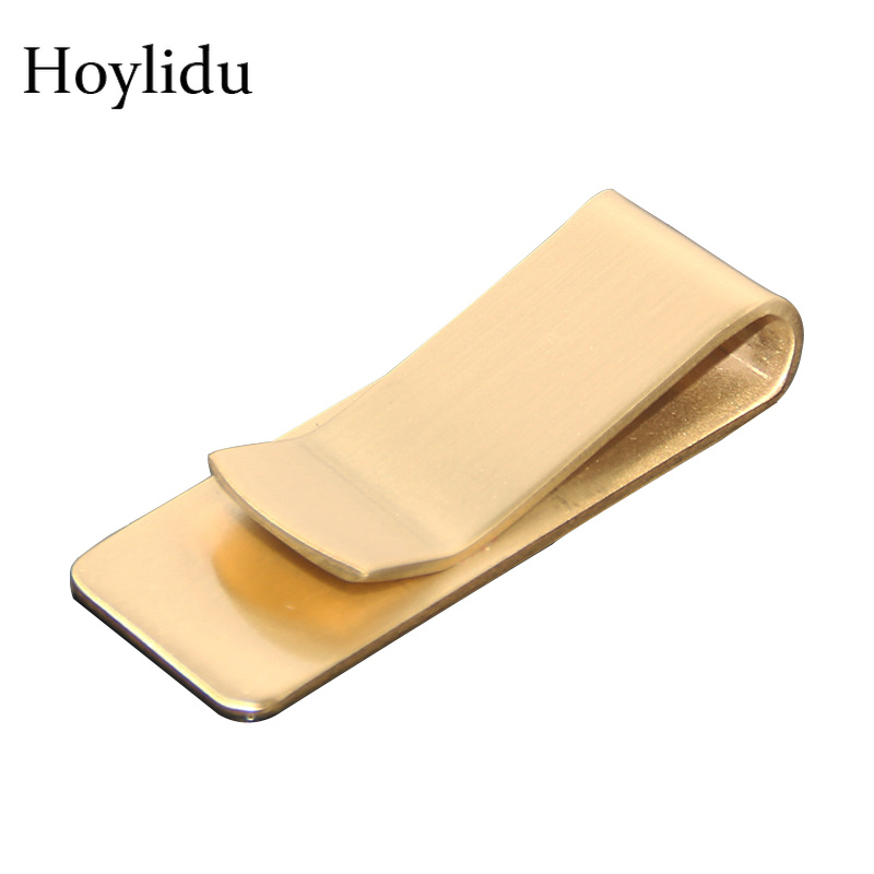 1PC Brass Money Clip Wallet Stainless Steel 1.5mm Thicken Metal Card ID Case Clip Tickets Men Cash Clamp Holder Bookmark Folder