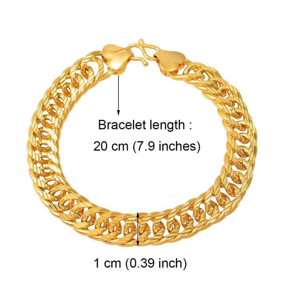 Anniyo mężczyzn bransoletki złoty kolor biżuteria arabska afryka złoty gruby Link Chain Bangle dla kobiet #013107