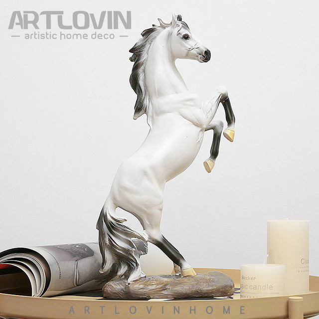 New Year Horse Statues Home Decor Crafts Vintage Resin Figurine White Steed Miniature For Office