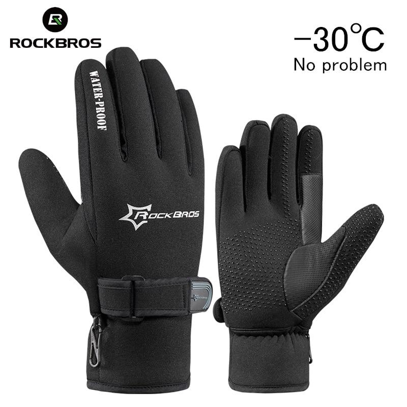 ROCKBROS Snowboard Étanche Polaire Ski Glove Warmer Écran Gel Anti-choc Hiver En Plein Air Sport Moto cycle Hommes Femmes Gants