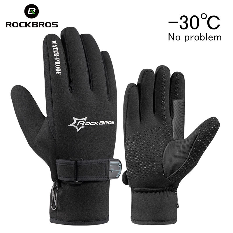 RockBros Winter Windproof Skiing Fleece Keep Warm Ski Snowboarding Gloves Ultra Thick Silica Gel Anti Slip