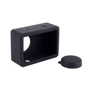 Image 5 - Funda protectora de silicona para Xiaomi Yi accesorios para Cámara de Acción + tapa de lente, para Xiaoyi Sport Cam