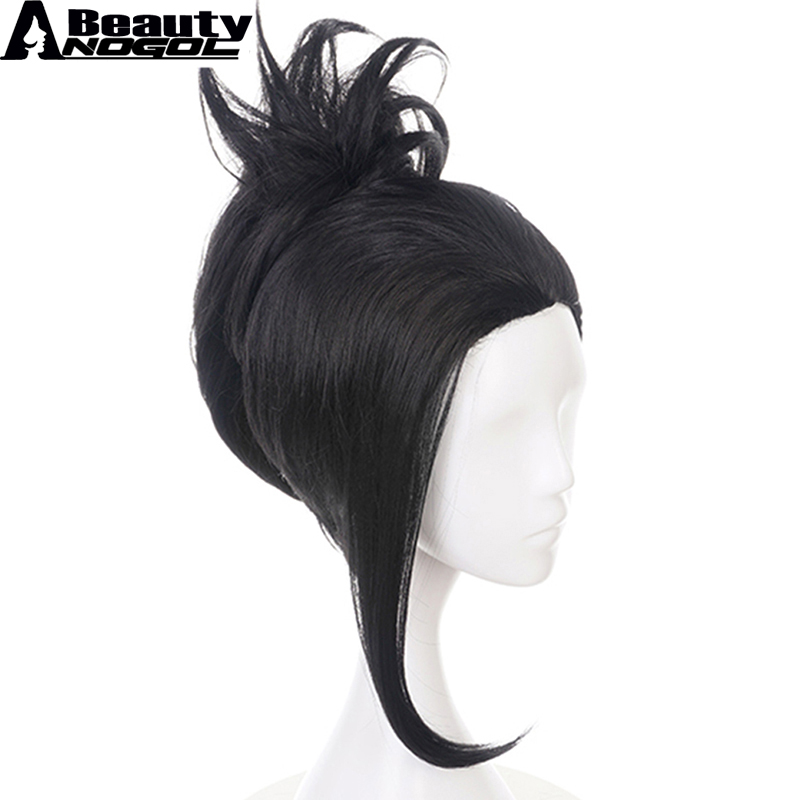 ANOGOL BEAUTY Hair Cap+My Hero Academia Momo Yaoyorozu Short Black Ponytail Synthetic Cosplay Wig For Women Cosplay Costume