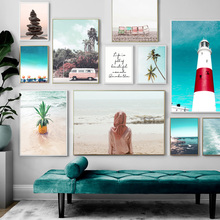 Sea Girl Lighthouse Bus Forest Landscape Wall Art Canvas Painting Nordic Posters And Prints Pictures For Living Room Decor