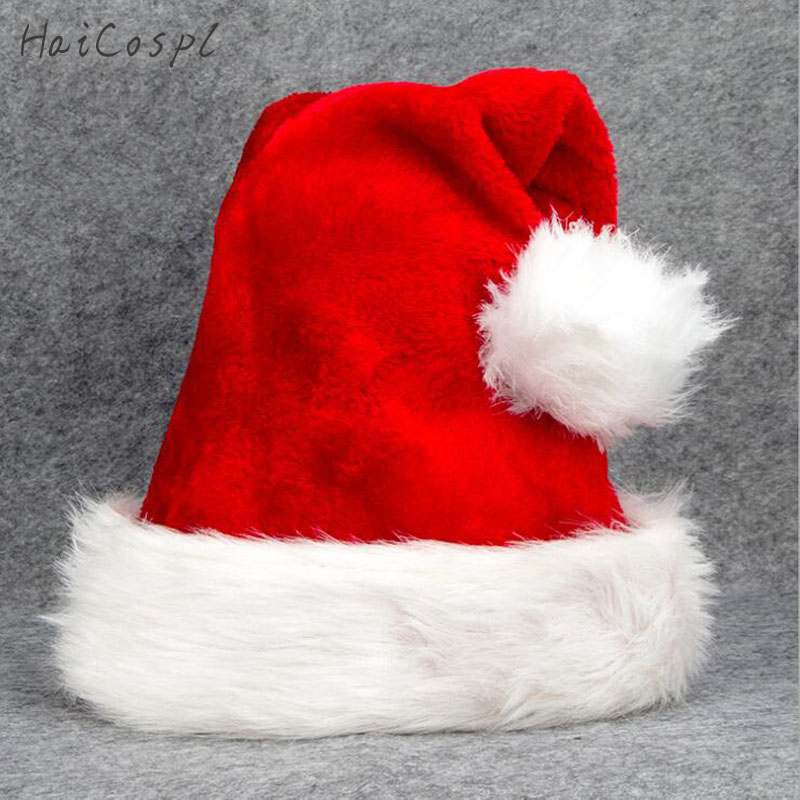 Christmas Hat For Adult Kids Classic Red White Santa Claus Cosplay Family School  Xmas Party Stage Performance Winter Warm Thick