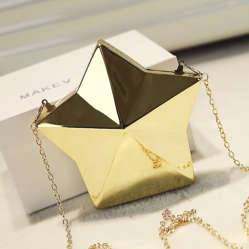 4d9d73e3eca Personalidade da moda de luxo em forma de estrela de metal sacos de noite  partido embreagem senhoras bolsa carteira mini bolsa de ombro bolsa de moda