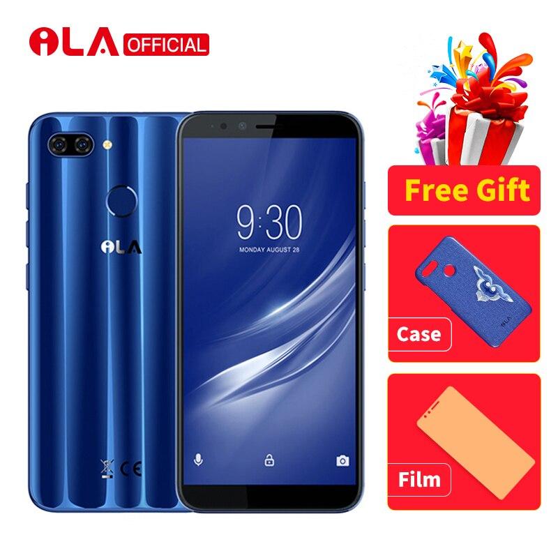 ILA Soie 4 gb 64 gb Mobile Téléphone Snapdragon 430 Octa base Android 8.1 Téléphones 16MP Avant et 13MP + 2MP Arrière Caméra 5.7 ''Smartphone