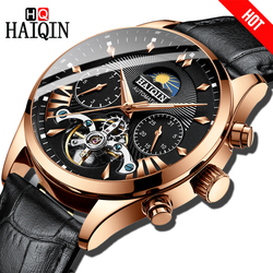 HAIQIN Dress Men zegarek luksusowy automatyczny mechaniczny zegarek biznesowy marki mężczyźni skórzany sport wodoodporny męski zegarek na rękę Relogio w Zegarki mechaniczne od Zegarki na